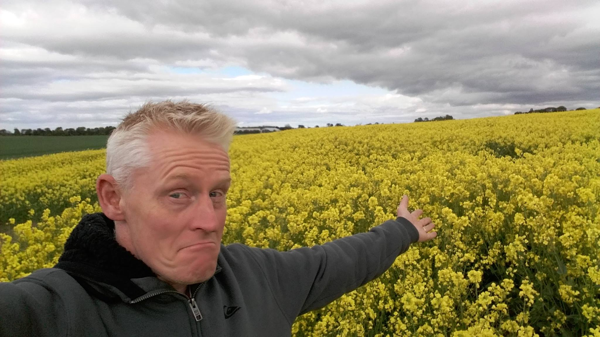 farmer with rape seed field